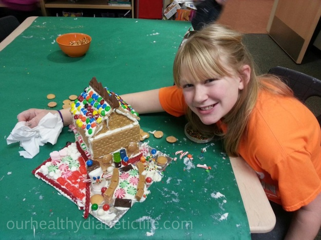 Evie and her gingerbread house